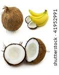 Coconut and banana - stock photo