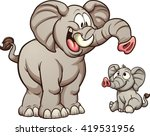 big and small cartoon elephants.... | Shutterstock .eps vector #419531956