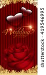 wedding red rose on a red... | Shutterstock .eps vector #419546995