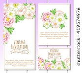 invitation with floral... | Shutterstock . vector #419574976