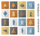 diwali. indian festival icons.... | Shutterstock .eps vector #419589616
