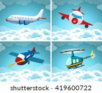 four scenes of airplane flying...   Shutterstock .eps vector #419600722