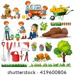 family members doing chores and ... | Shutterstock .eps vector #419600806