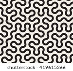 Stock vector vector seamless black and white tangled round stripes geometric pattern abstract background 419615266