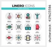 line icons set of market leader ... | Shutterstock .eps vector #419625586