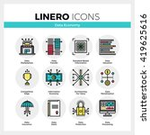 line icons set of business data ... | Shutterstock .eps vector #419625616