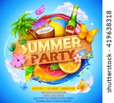 illustration of summer party... | Shutterstock .eps vector #419638318
