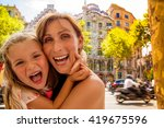 mother with daughter visiting... | Shutterstock . vector #419675596