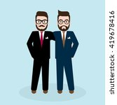 two hipster businessman in... | Shutterstock .eps vector #419678416