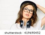 Hipster Girl With Headphones...