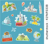 travel stickers set. travel and ... | Shutterstock .eps vector #419693338
