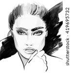 black and white illustration of ... | Shutterstock . vector #419695732