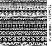 black and white tribal doodle... | Shutterstock .eps vector #419699782