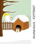 funny christmas dog sleeping... | Shutterstock .eps vector #41970067