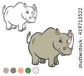 coloring page. cute rhinoceros... | Shutterstock .eps vector #419713522