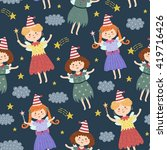 cute fairies seamless pattern.... | Shutterstock .eps vector #419716426