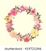 pattern made from summer pink... | Shutterstock . vector #419721346