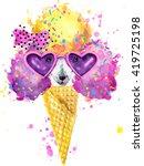 Cute Dog. Ice Cream. Watercolor ...