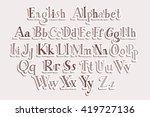 retro alphabet vector font.... | Shutterstock .eps vector #419727136