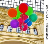 colorful balloons with happy... | Shutterstock . vector #419740435