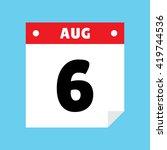 calendar icon flat august 6
