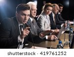young businessman giving press... | Shutterstock . vector #419761252