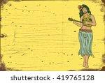 Wooden Sign  Hula Girl Playing...