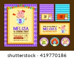 cute dino birthday element girl ... | Shutterstock .eps vector #419770186