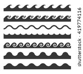 seamless wave pattern set.... | Shutterstock .eps vector #419774116