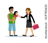 stay at home dad holding a baby ...   Shutterstock .eps vector #419783632