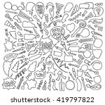 cartoon sketch arrows and... | Shutterstock . vector #419797822