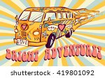 hippie car  mini van on rays... | Shutterstock .eps vector #419801092