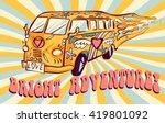 hippie car  mini van on rays...