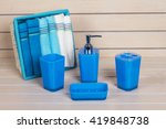 Blue Bathroom Accessories With...