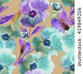 beautiful floral seamless... | Shutterstock . vector #419849206