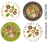 vector labels set for healthy... | Shutterstock .eps vector #419867398