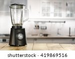 blender and wooden table in... | Shutterstock . vector #419869516