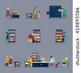 people in supermarket. raster... | Shutterstock . vector #419895586