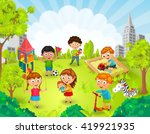 children playing in the park... | Shutterstock .eps vector #419921935