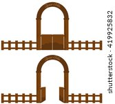 vintage village or farm wooden... | Shutterstock .eps vector #419925832