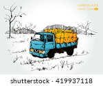 farm tractor with wagons... | Shutterstock .eps vector #419937118