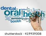 oral health word cloud concept | Shutterstock . vector #419939308
