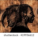 portrait of indian head .... | Shutterstock . vector #419956612