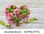 Heart Bouquet With Pink Roses ...
