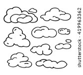 hand drawn cloud set.... | Shutterstock . vector #419963362