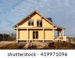 Building A House With Wooden...