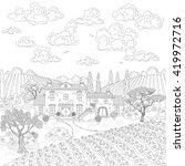 contoured summer landscape with ... | Shutterstock .eps vector #419972716