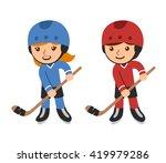 cute cartoon hockey players ... | Shutterstock . vector #419979286