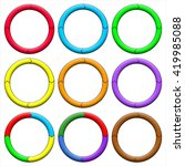circle  ring. set of 9 colorful ... | Shutterstock . vector #419985088