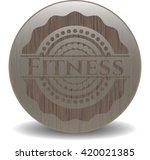 fitness vintage wood emblem   Shutterstock .eps vector #420021385